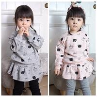 初秋 小熊熊卫衣+裤裙 两件套 女童/童装 圆领运动衫(长袖)