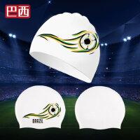 世界杯新款男女通用泳帽成人长发护耳防水时尚潜水硅胶游泳帽
