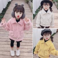 女童羊羔毛外套女宝宝皮毛一体秋冬装加绒童装