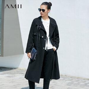 Amii[极简主义]帅气 羊毛呢外套 冬季保暖系带侧开襟盖式贴袋上衣