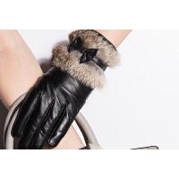 西裤时尚女士真皮兔毛手套 加绒加厚女可爱保暖触摸屏手套 可礼品卡支付