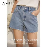Amii极简时尚开叉休闲牛仔短裤女2021夏新款百搭高腰显瘦直筒裤子