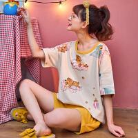 小情歌纯棉睡衣女士夏季短袖短裤薄款卡通满印熊可爱居家服时尚套装春天JBEK2062