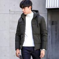 棉衣男士加厚外套韩版修身短款棉袄2017冬季新款青年连帽男潮