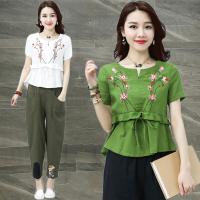 刺绣花棉麻短袖T恤女装夏季新款大码宽松民族风森女上衣