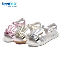 天美意夏新款兔耳中大童凉鞋女童软底防滑公主鞋韩版学生鞋DX0366