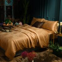 家纺新款莫代尔纯棉四件套1.5m欧式宫廷风全棉床单被套提花床品四件套 标准1.5-1.8米床:被套200*230 床单