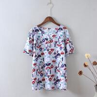 P6大码棉麻短袖V领 衬衫女上衣夏季 修身显瘦小衫休闲印花学生0.1