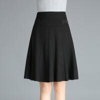 新品女装秋冬半身裙中年黑色显瘦膝上裙及膝裙大码短裙a字跳舞裙