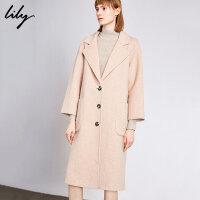 Lily2019冬新款气质羊毛双面呢大衣宽松大翻领开襟毛呢外套女1E11