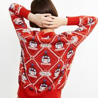 【超值一口价:263】LILY冬女装复古学院风棋盘格毛针织衫