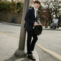 冬季新款休闲西服男毛呢男士小西装修身韩版中年羊毛外套单件上衣