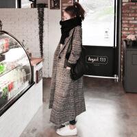 2018秋季新款英伦格子风衣女中长款毛呢过膝外套千鸟格呢子大衣韩版 图片色
