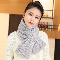 毛线围巾女秋冬季学生潮加长交叉针织百搭保暖围脖纯色新款