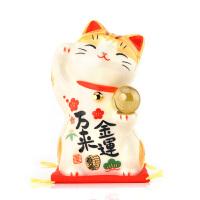 日本药师窑金运良缘可爱创意平安车内车载汽车装饰品招财猫摆件 金运万来 7541 高约9CM
