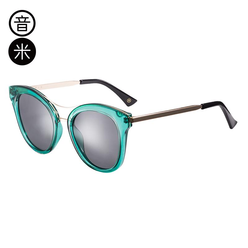 音米新款百搭偏光太阳镜女司机镜 圆脸开车墨镜女潮复古眼镜 AASBTD366