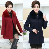 秋冬中年妈妈装中长款羊绒大衣40-50岁中老年大码女装羊毛呢外套