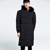 冬装男士加厚超长款过膝羽绒服外套男韩国羽绒衣白鸭绒保暖毛领潮 黑色