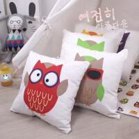 儿童帆布猫头鹰抱枕 宝宝靠枕沙发靠垫儿童节礼物小孩抱枕