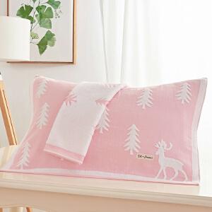枕巾纯棉一对高档欧式纱布全棉成人单双通用枕头巾情侣