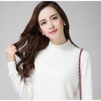 秋冬大码圆领韩版羊绒半高毛衣女宽松套头针织打底短款加厚羊毛衫