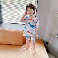 【2件2折】左西男童睡衣夏季纯棉儿童恐龙家居服套装男孩薄款中大童2021新款