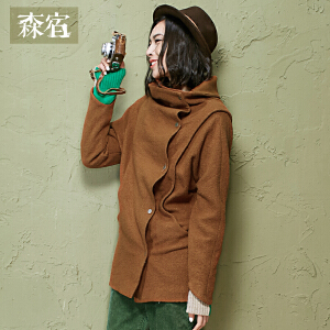 森宿立体咖啡冬装女士复古宽松蝙蝠袖休闲纯色毛呢外套女长款2542759