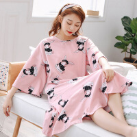 韩版卡通纯棉睡衣女春秋胖mm200斤孕妇加肥大码宽松长款睡裙 粉红色 模特款