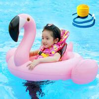 火烈鸟坐骑充气宝宝游泳玩具装备儿童泳圈座圈加厚泳衣圈