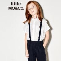 【折后价:159.6】littlemoco夏季新品男童衬衫短袖翻领红白蓝刺绣按扣白色衬衣