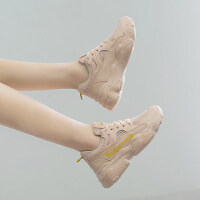 户外小白鞋女韩版休闲运动鞋女ins网面厚底老爹鞋潮