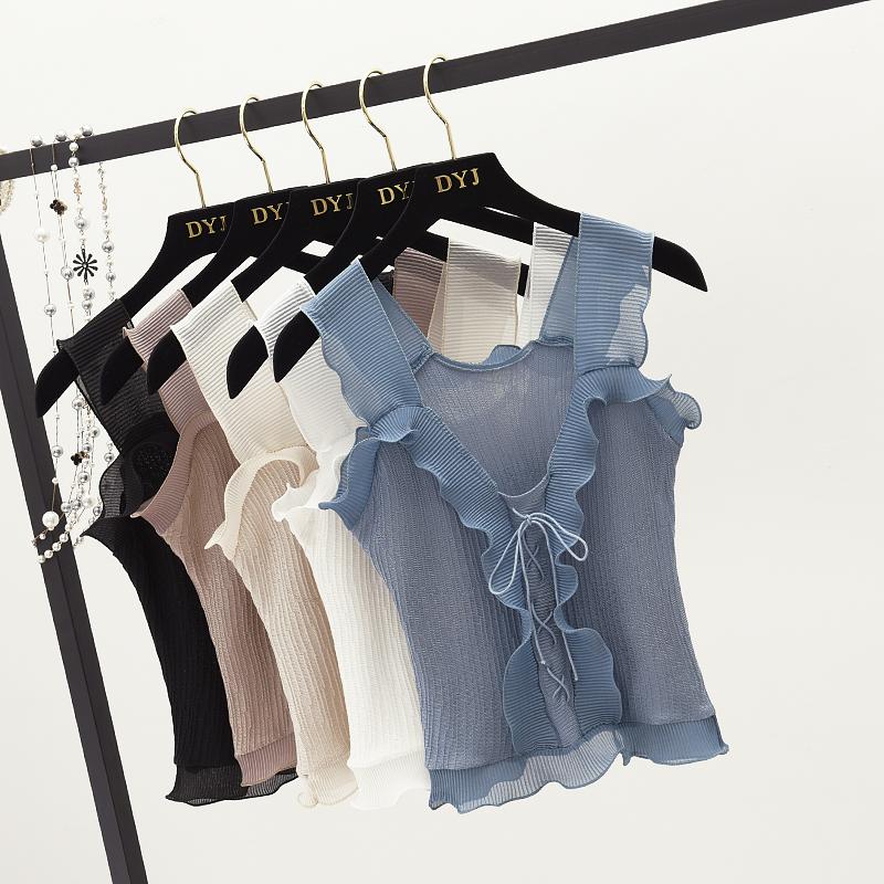 夏季2018新款韩版小清新吊带背心女针织短款外穿内搭无袖