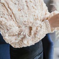 18春装新款浪漫立体花朵蕾丝衬衣钉珠立领蕾丝衫衬衫两件套女潮