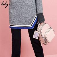 无卡包Lily春新款女装简约造型纯色休闲双肩包女包117110BZ802
