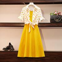 安妮纯法国小众两件套洋气女装2019夏装新款显瘦套装遮肚子减龄连衣裙