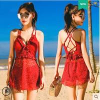 新款韩国泳衣女聚拢性感大小胸连体裙式保守遮肚显瘦泡温泉游泳衣