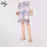 【此商品参加一口价,预估到手价279元】Lily2019夏新款女装中国风渐变蕾丝花型直筒裙纱裙半身裙6904