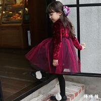 女童圣诞新年装连衣裙新款冬装韩版女宝宝加绒公主裙子