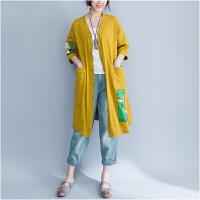夏季韩范新款棉麻学生中长款卡奇米老鼠图案宽松开衫外披