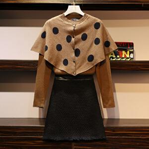 【热卖推荐】大码女装2019春秋新款套装拼接针织毛衣衫短裙显瘦两件套7185