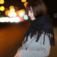 韩国秋冬天针织流苏脖套女士保暖毛线大围脖韩版加厚套头新潮双色