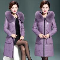 冬季新款真皮羽绒服女中长款加肥加大码女装宽松皮衣棉外套厚 3X