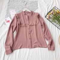 2018春装新款韩版蕾丝打底衬衫女雪纺上衣长袖修身立领文艺白衬衣 均码