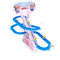 儿童轨道玩具海草猪爬楼梯滑梯拼装电动轨道车带音乐男孩女孩亲子互动有声益智游戏玩具 海草猪轨道