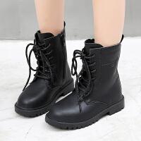 儿童马丁靴秋冬季童鞋黑色男童靴子