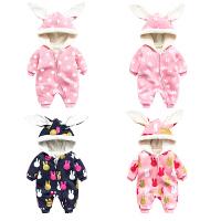 女婴儿连体衣服0一岁3个月1男宝宝秋冬装6保暖外套装加绒加厚棉衣