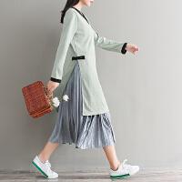实拍2018秋装韩版 新款针织连衣裙长袖开叉宽松长款毛衣时尚