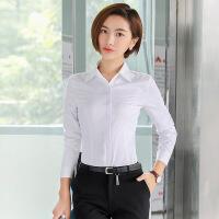 韩版棉白衬衫女秋2017新款OL职业长袖衬衫工装工作服长袖大码衬衣