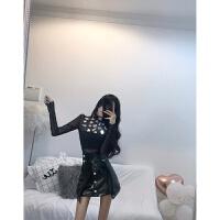 套装女秋冬2018新款时尚气质名媛亮片显瘦打底衫+不规则皮裙