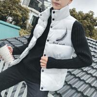 青少年13韩版马甲外套14大童男装12初中学生秋冬季背心棉衣15岁 白色 M